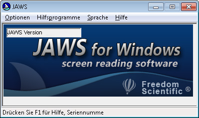 JAWS Programmfenster